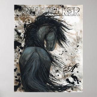 Poster Cheval noir frison majestueux d'étalon par BiHrLe