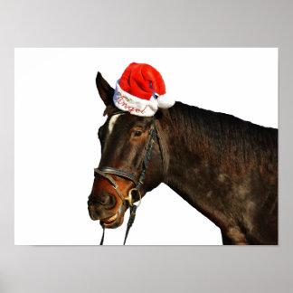 Poster Cheval père Noël - cheval de Noël - Joyeux Noël