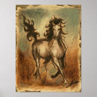 Poster Cheval sauvage et couleurs chaudes