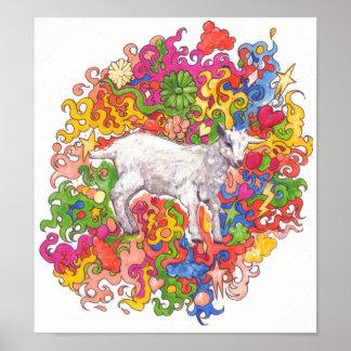 Poster Chèvre psychédélique