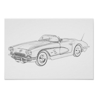 Poster Chevy 1958 Corvette