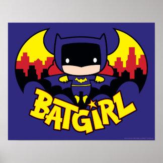Poster Chibi Batgirl avec l'horizon et le logo de Gotham
