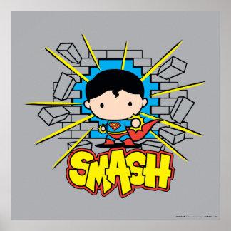 Poster Chibi Superman heurtant par le mur de briques