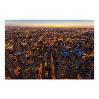 Poster Chicago du centre au coucher du soleil