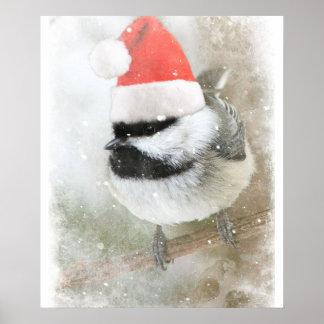 Poster Chickadee mignon de Père Noël