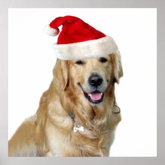Poster Chien-animal familier de Labrador Noël-père Noël