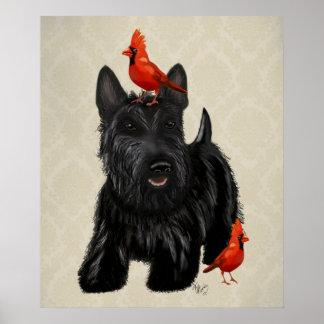 Poster Chien de Scottie et oiseaux rouges