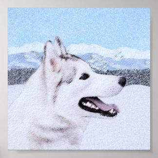 Poster Chien de traîneau sibérien (argent et blanc)
