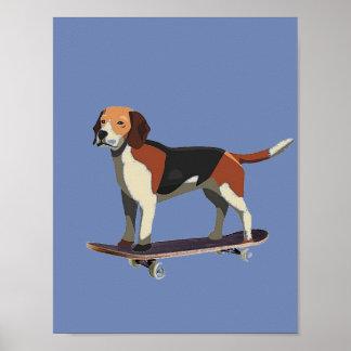 Poster Chien sur la planche à roulettes, beagle, affiche