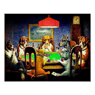 Poster Chiens jouant au poker