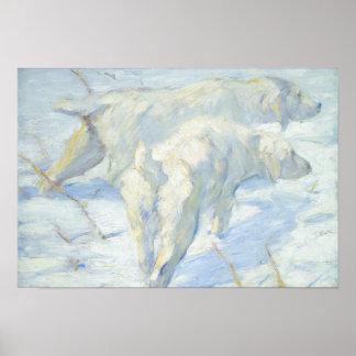 Poster Chiens sibériens dans la neige