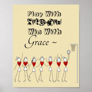 Poster Chiffres citation inspirée de bâton de net-ball