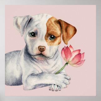 Poster Chiot de pitbull tenant la peinture de fleur de