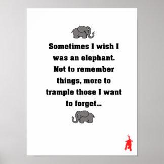 """Poster chiot rouge """"parfois je souhaite… l'éléphant """""""