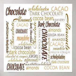 Poster Chocolat, amandes et nuage foncé de mot de
