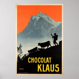 Poster Chocolat Klaus, affiche vintage suisse de la