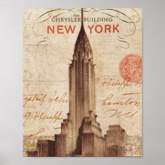 Poster Chrysler vintage construisant à New York