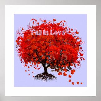 Poster Chute aux coeurs de remous d'affiche d'amour