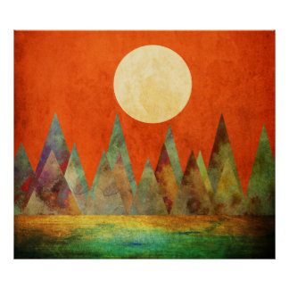 Poster Ciel abstrait d'orange de montagnes de pleine lune
