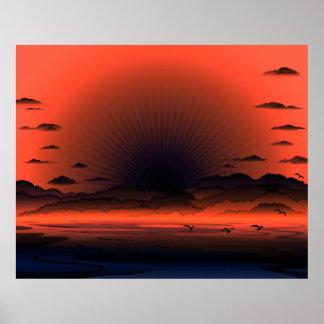 Poster Ciel foncé vif de plage de rayon de soleil