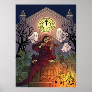 Poster Cimetière de retraite de faucheuse et de fantômes