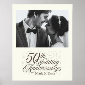 Poster cinquantième Signe d'anniversaire de mariage