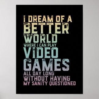 Poster Citation de Gamer pour le geek de jeu de joueur de