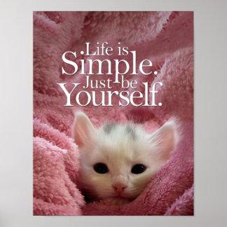 Poster Citation de motivation BeYourself de chaton simple