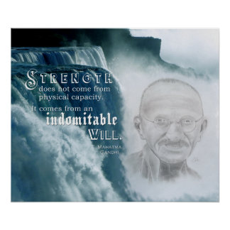 Poster Citation de motivation de force de Gandhi