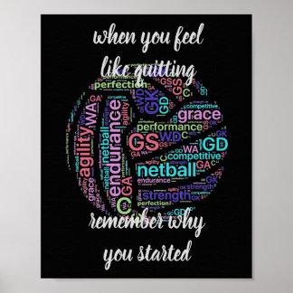 Poster Citation de motivation de net-ball