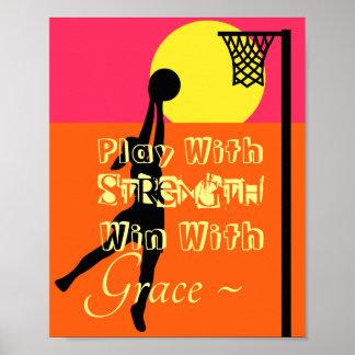 Poster Citation de motivation de net-ball de tireur de