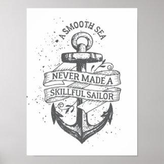 Poster Citation de motivation nautique de marin