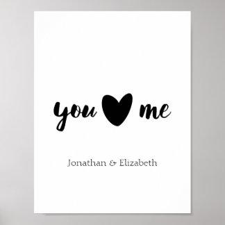 Poster Citation personnalisée de Valentine, vous coeur je