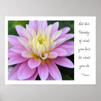 Poster Citation rose de Rumi de dahlia