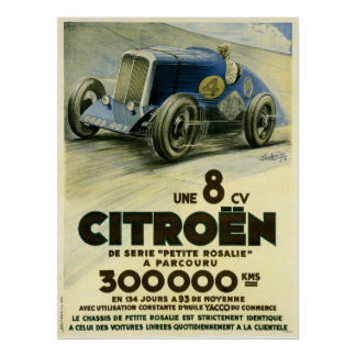 Poster Citroen place une affiche de disque de distance en