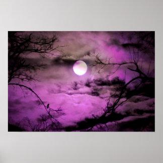 Poster Clair de lune mauve-foncé