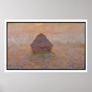 Poster Claude Monet   Grainstack, Sun dans la brume