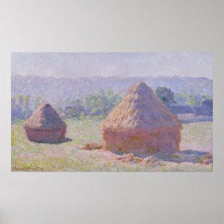 Poster Claude Monet | Grainstacks à la fin de l'été