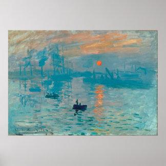 Poster CLAUDE MONET - impression, lever de soleil 1872