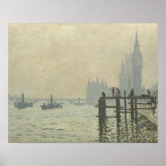 Poster Claude Monet - la Tamise à Westminster