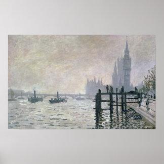 Poster Claude Monet | la Tamise au-dessous de Westminster