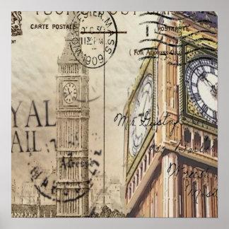 Poster Clocktower grand Ben de la Grande-Bretagne