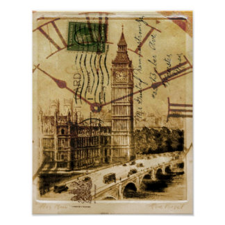 Poster Clocktower grand Ben de pont de tour de Londres