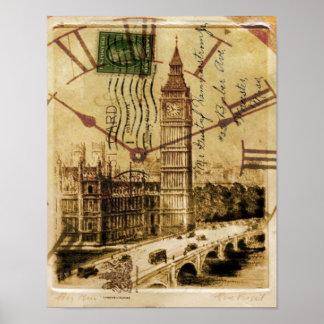 Poster Clocktower grand Ben de pont de tour de Londres