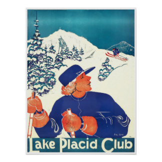 Poster Club de Lake Placid, affiche de ski