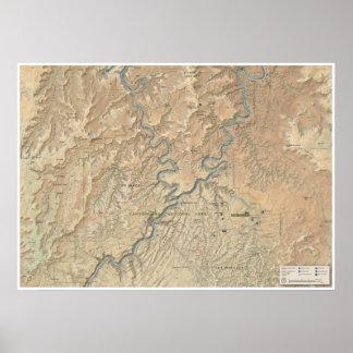 Poster Coeur d'affiche de carte de Canyonlands (Utah)