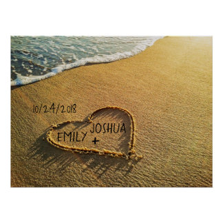 Poster Coeur dans la plage de sable