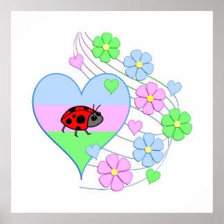 Poster Coeur de coccinelle d'amusement