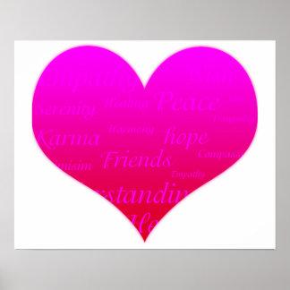 Poster Coeur de rose d'espoir de motivation