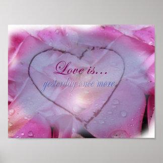 Poster Coeur en affiche de neige et de pétales de rose